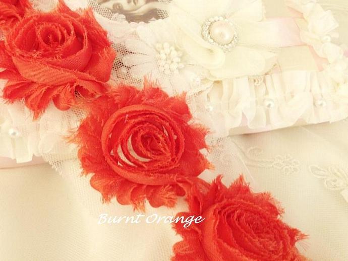 1 yd DARK OANGE Shabby Chiffon Frayed Rose Flower Trim for DIY Headbands,