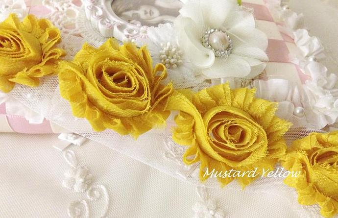 1/2 yd MUSTARD YELLOW Shabby Chiffon Frayed Rose Flower Trim for DIY Headbands,