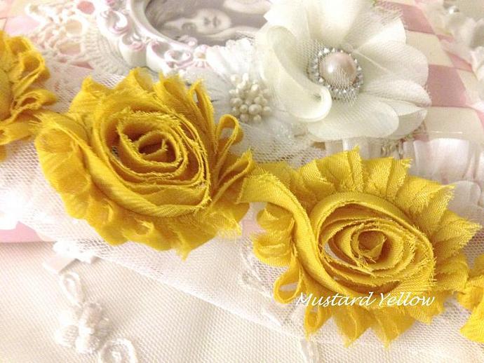 1/2 yd MUSTARD YELLOW Shabby Chiffon Frayed Rose Flower Trim for DIY Headbands,