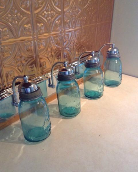 Mason Jar Vanity Light: Mason Jar Lighting Fixture, Mason Jar Vanity By JunkyardJems On