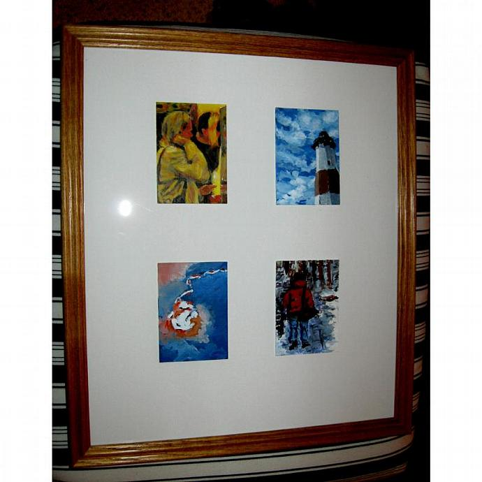 Four Vertical ACEOs in A Wood Frame