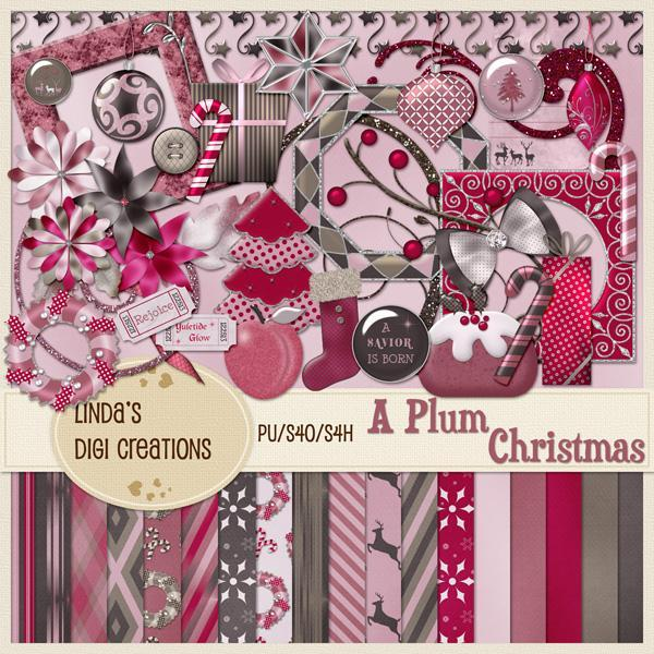 A Plum Christmas (Digital Scrapbooking Kit)