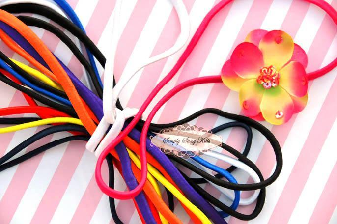 12 Primary Colors 5mm Dainty Elastic Non Metal headbands