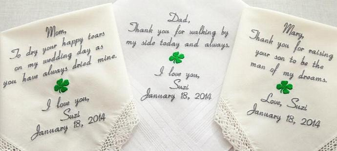 Mother Father Embroidered  Wedding Hankerchiefs Four Leaf Clover gift mother in