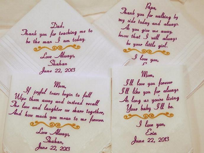 Set 4 Embroidered  Wedding Handkerchiefs Hankerchiefs