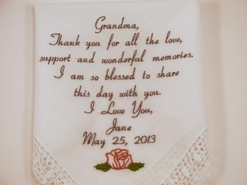 embroidered handkerchiefs wedding mom dad gift for grandma wedding embroidered by napaembroidery on zibbet