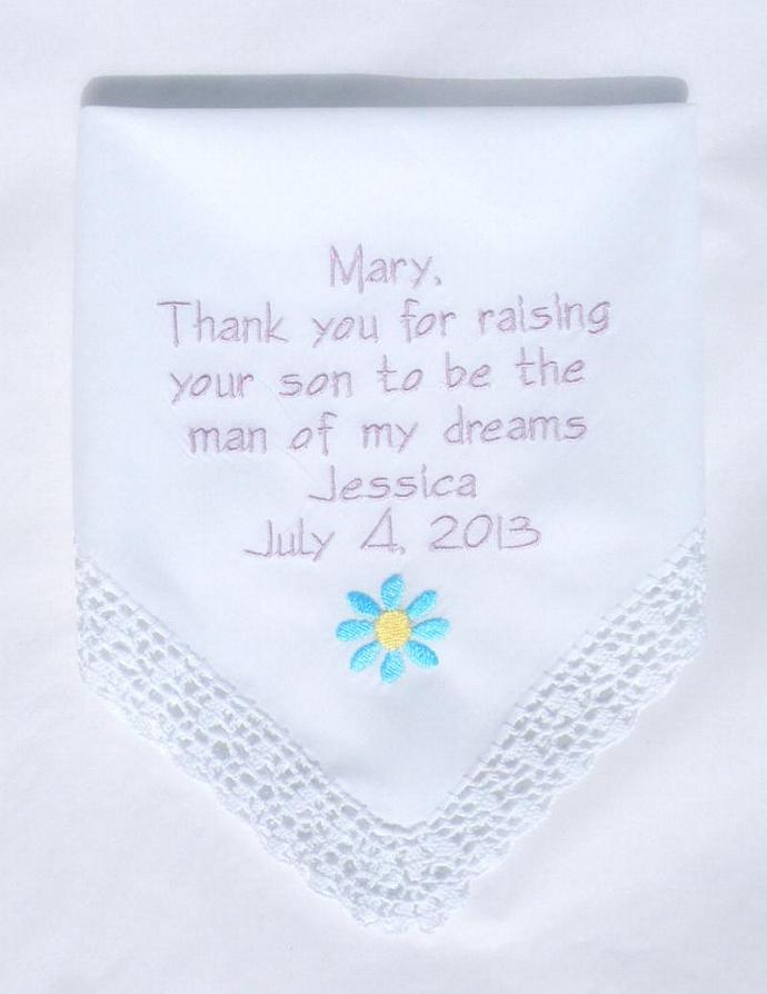 personalized wedding mother in law embroidered hankerchiefs handkerchiefs mother