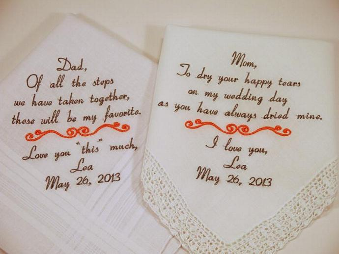 Mom Dad Embroidered Wedding Hankerchiefs handkerchiefs Personalized 2 gifts for