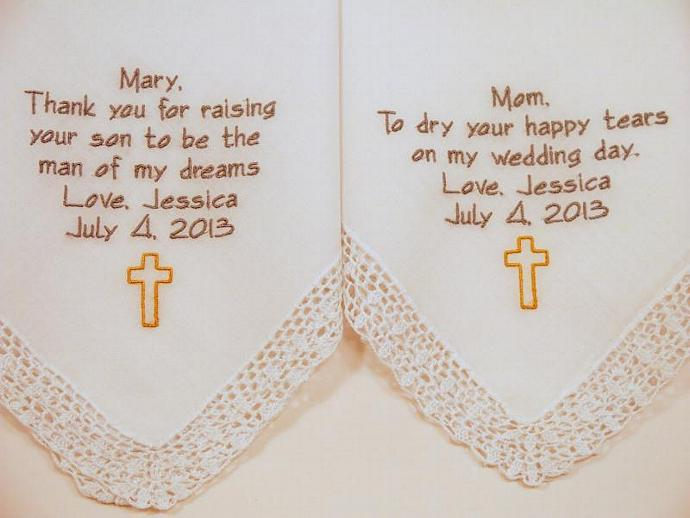 Mom Mother in Law Embroidered Wedding Hankerchiefs handkerchiefs Personalized 2