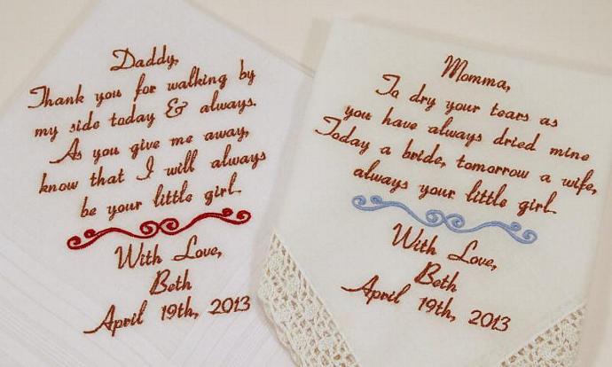 Mom Dad Embroidered Wedding Hankerchiefs handkerchiefs  2 gifts for parents