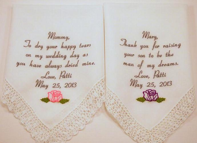 Embroidered wedding handkerchief set of 2 mother of the bride mother in law