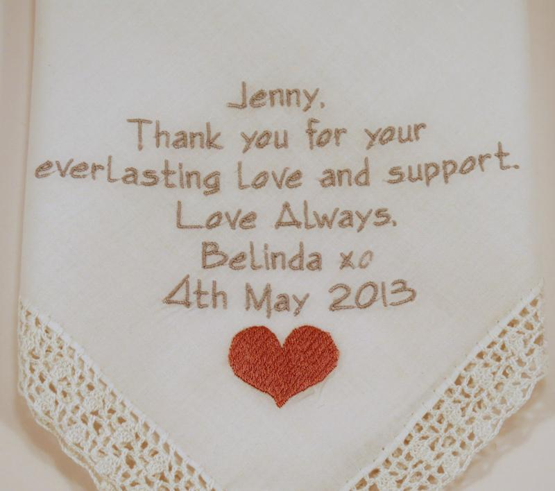 Embroidered Wedding Hankerchiefs For Brides By Napaembroidery On