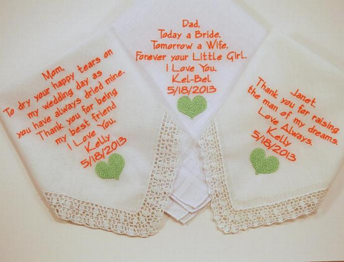 Set of 3 Embroidered  Wedding Hankerchiefs gift poem heart gift for the family