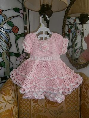 Lacy Crochet Baby Dress Pink and White