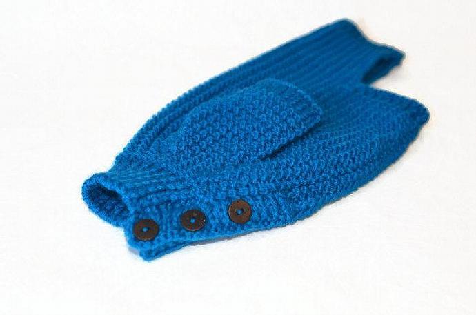 Dog Sweater  Hand Knitting dachshund  blue warm