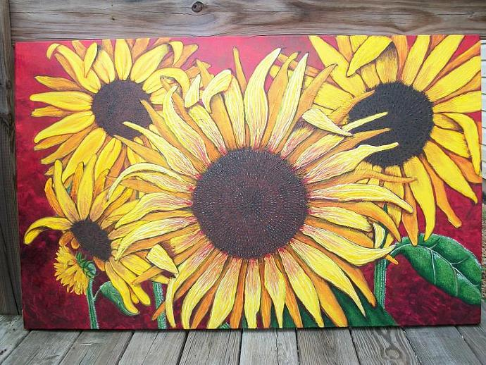 Glorious Sunflowers-original painting