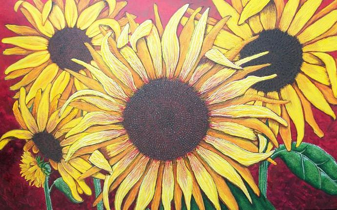 Glorious Sunflowers-original painting