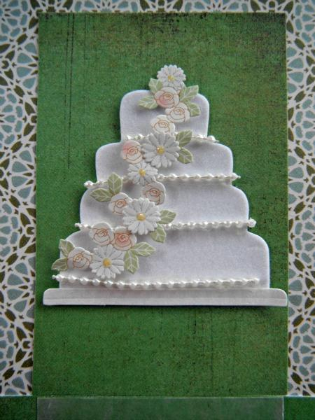 Arabic Pearl Wedding Cake ألف مبروك Congratulation Card with Arabesque Wall