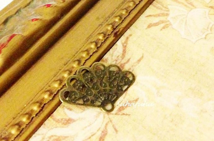 8 Antiqued Bronze FAN Filigree Findings for Altered Art Jewelry Design- #F-15