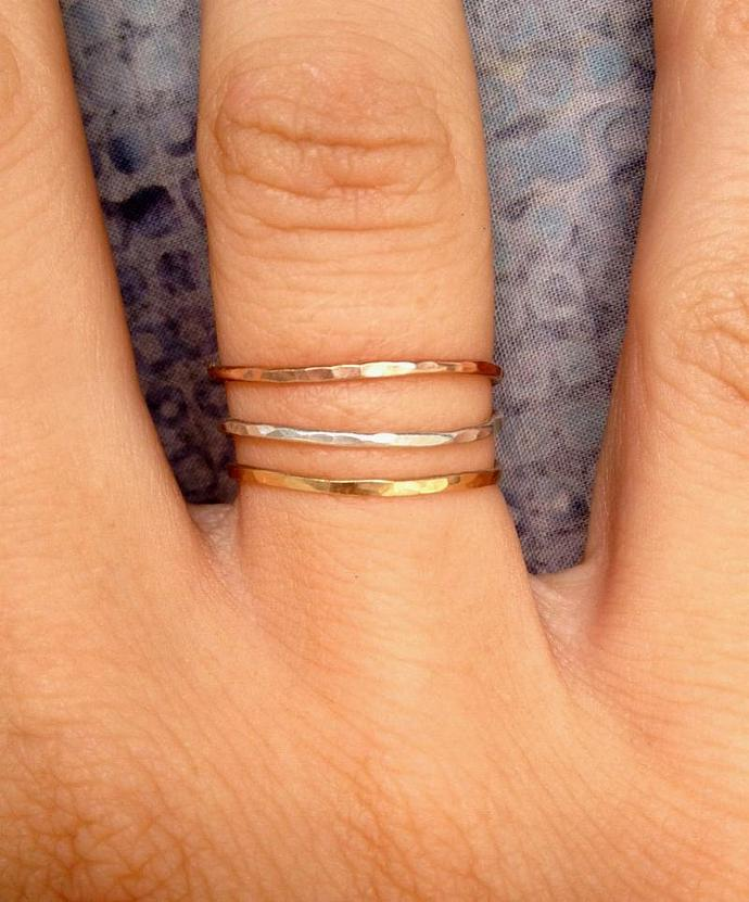 Tower of Hanoi Stackable Rings in Gold-filled, rose-gold filled, and sterling