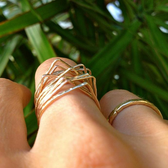 Teardrop Stackable Rings in Gold-filled, Rose Gold-filled, and Sterling Silver