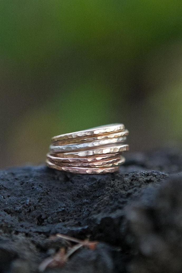 Stack 'em Up Thick Stackable rings in Gold-filled, Rose Gold-Filled, and