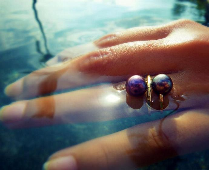 Wrapped Around Your Finger Ring with Freshwater Pearls and Gold-Filled base