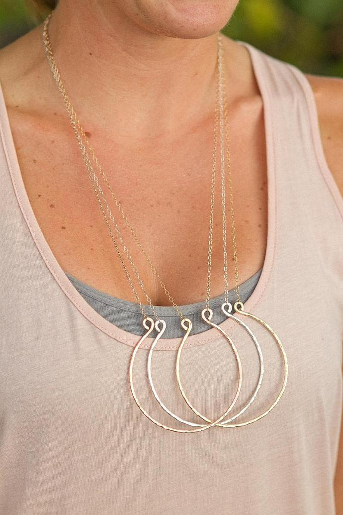 Harp Necklace Gold Filled Textured 12g Metal