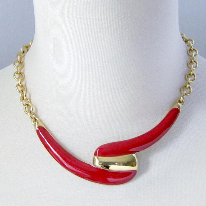 Monet Signed Bib Collar Statement Necklace Red Enamel Glossy Gold Graphic Swirl