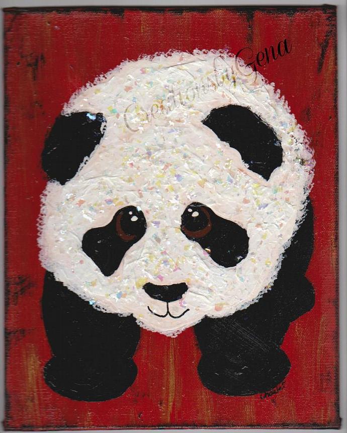 Original Baby Panda bear mixed media painting 8x10 wall art canvas panel  childs