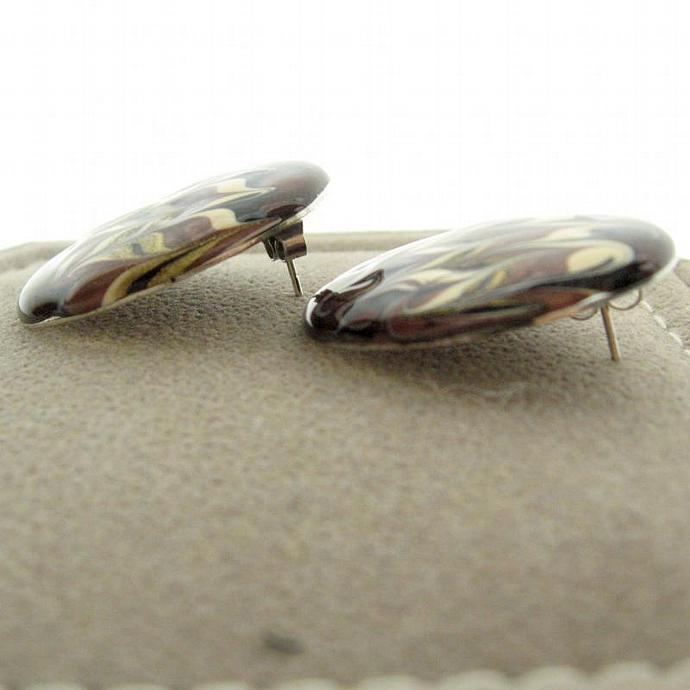 Vintage Rich Metalic Copper Brown Flame Enamel Post Earrings