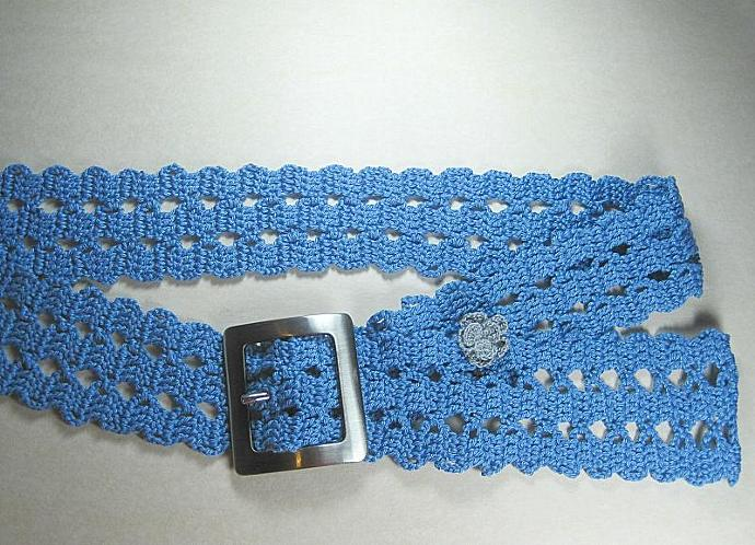 A Blue Crochet Belt In Bruge Lace By Shuvalaccessories On Zibbet