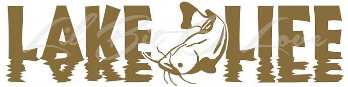 Reflective Lake Life with Catfish in the center Vinyl Decal Sticker Vehicle Car