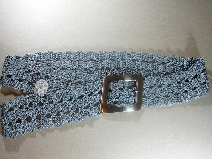 A Grey Belt With Bruge Crochet Pattern By Shuvalaccessories On Zibbet