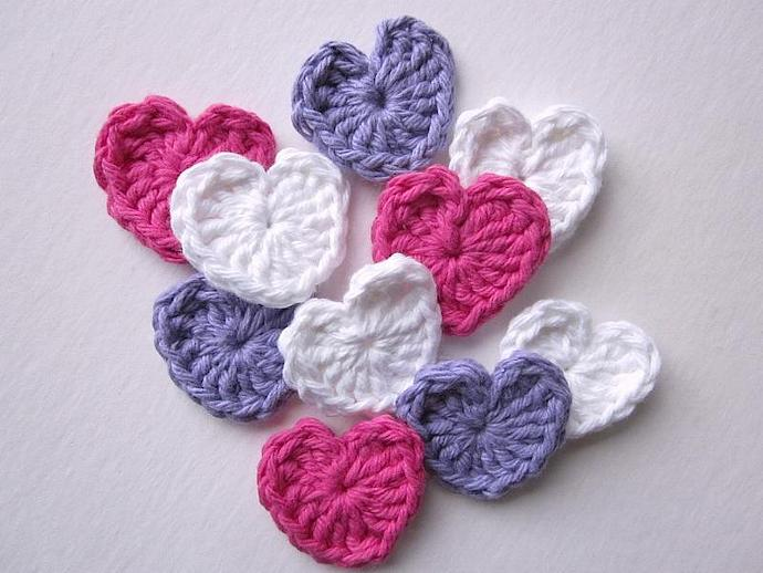 Handmade Crocheted Sweet Heart Appliqués