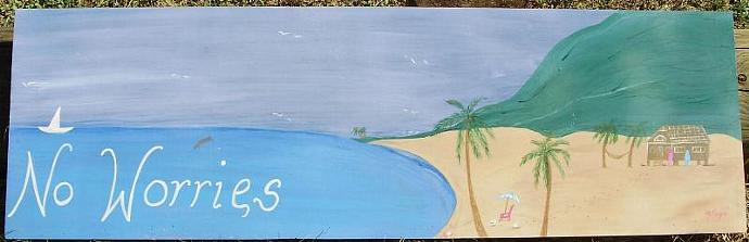 Beach House painting July 4th No Worries large dolphins ocean sea boats shabby
