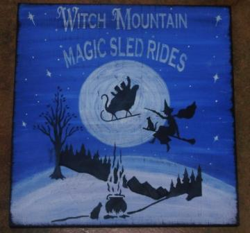 Primitive Christmas Painting Witch Mountain Magic Sled Rides Witches Black Cats