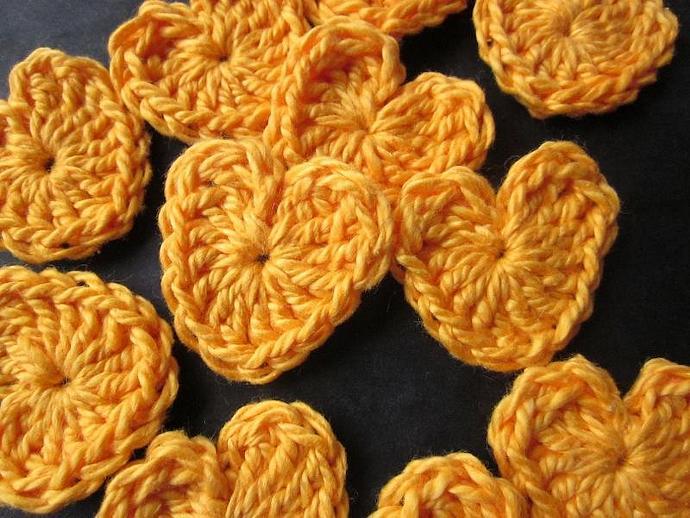 Handmade Golden Heart Appliqués