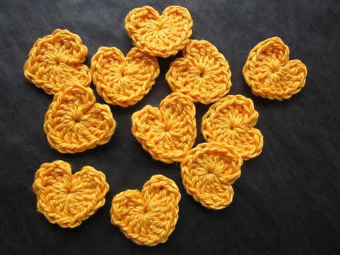 Handmade Golden Heart Appliqués