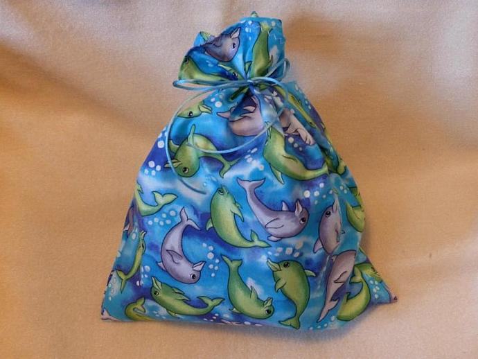 Fabric Gift Bag set of 2,  Playful Dolphins fabric bags, gift bag, eco-friendly,