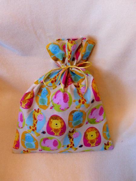 Fabric Gift Bag set of 2, Safari Cream fabric gift bags, Baby/Toddler gift bags,