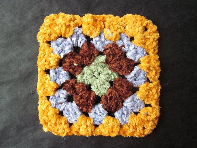 One-of-a-kind Chenille Granny Square Motif