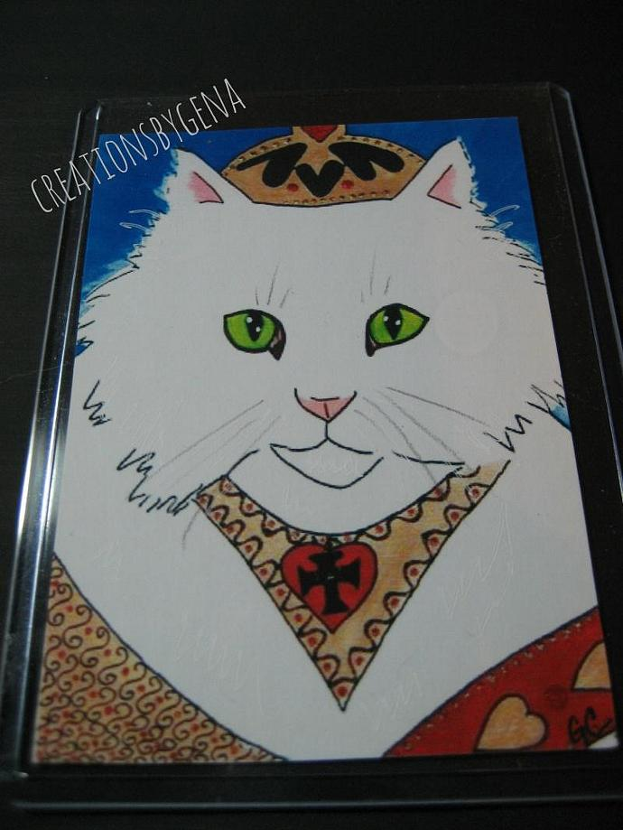 Aceo Print Kitty King Miniature Art Print