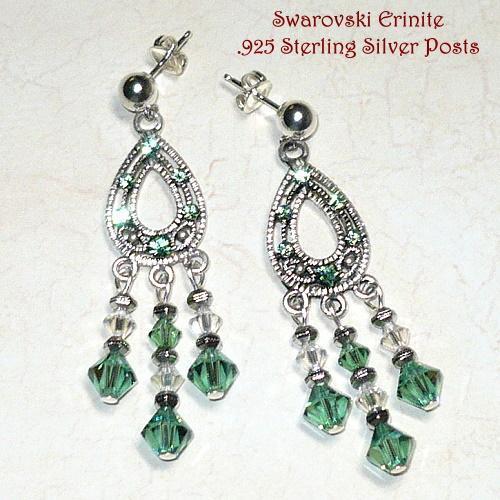 Swarovski Chandelier Erinite & Crystal Moonlight Earrings