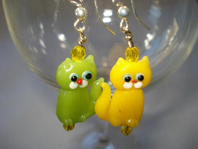 Cats, Kittens, Meow - Swarovski Crystal and Lampwork bead earrings Yellow and