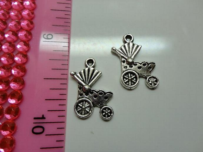 Baby Carriage Charm - Silver