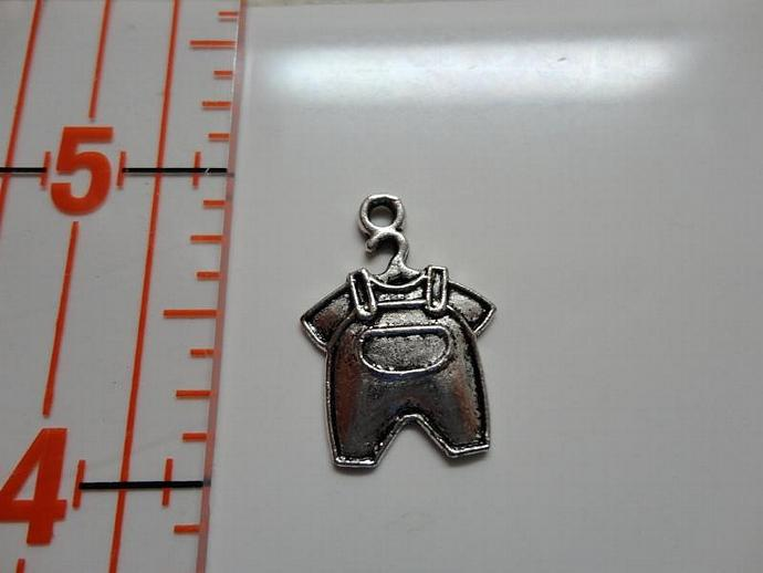 Baby Overalls Jean Charm - Silver
