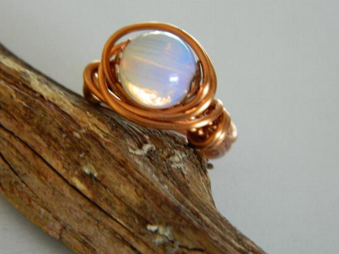 Opalite and Natural Copper Wire Wrap Ring