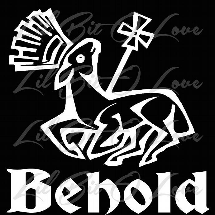 Vinyl Decal Reads Behold and Features the Lamb of God Christian Jesus Sticker