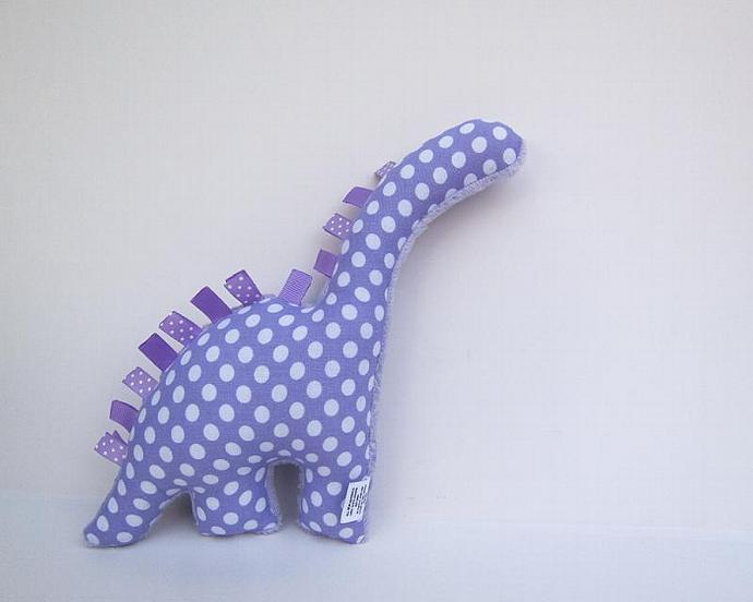 Lavender Polka Dot Plush Dinosaur Purple Dino Baby Toy